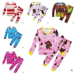 Wholesale Toddler Wholesale Pajamas - Moana Clothing Sets Baby Boys Girls Autumn Toddler Kids Children Long Sleeve Anime Printed Pajamas Clothes Suits 3-10Y 100pcs Free Shipping