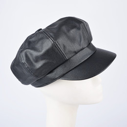 Wholesale Elegant Hats For Women - Wholesale-2016 new autumn and winter eight leaves elegant beret caps for women fashion faux leather hat casquette bone gorras black 59cm