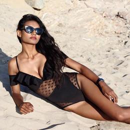 Wholesale Transparent Piece Bikini - Hot Bikini One Piece Sexy 2018 Transparent All Black Bikini Swimsuit Discount Swimwear Ladies Swimsuit Bathing Suit For Women