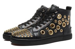 Wholesale Hollow Spikes - Men & Women Black Genuine Leather With Gold Spike High Top Red Bottom Casual Shoes, Unisex New Hollow Out Flat loubuten Shoes