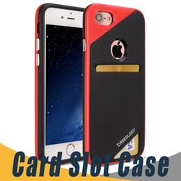 Wholesale Fibre Case - For iPhone 7 6 6S Plus 5 5S SE TPU Phone Cases Card Slot Carbon Fibre Cover For Samsung S7 J3 J7 2017