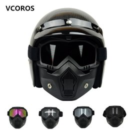 Wholesale Motorcycles Helmet Jet - VCOROS detachable mask goggles for vintage motorcycle helmet monster mask for scooter jet retro moto helmets cosplay maskVCOROS detachable m