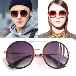 Wholesale Party Sunglasses - 0061 Round Sunglasses for Women Men Brand Designer Vintage Sun glasses with Case Designer Luxury Green Red Sunglasses for Party