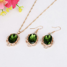 Wholesale Korean Wholesale Bridal Necklace - European and American high-end two-piece diamond necklace Earring Sets New jewelry crystal emerald jewelry Korean jewelry bridal diamond nec
