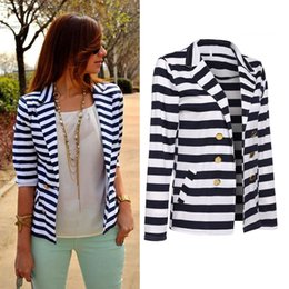 Wholesale Long Tops For Womens - 2017 designer Striped Slim jackets for womens tops Casual Business Blazer Suit Coat Outwear Cotton Blend Hot Tops