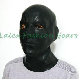 Wholesale Gummi Rubber Latex - Wholesale-2016 New Sexy Latex Fetish Human Mask Hoods Rubber 3D moulded Masks Head Fancy Headgear Gummi Zentai Wear New SM