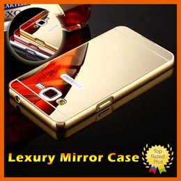Wholesale Mirror Metal Electroplating - Luxury Aluminum Electroplating Mirror Cases Gold Metal Bumper Hybrid Hard Phone Case for Samsung Note7 S5 S6 S7 J1 J3 j5 A5 iphone