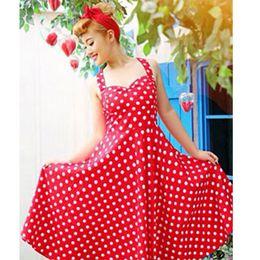 Wholesale Pinup Rockabilly Dress - 2016 Hot sale Deep V-Neck Polka Dot Swing 50's Housewife Pinup Dress Three color Rockabilly Vintage sleeveless mini Dresses