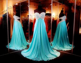 Wholesale Turquoise Lace Evening Dresses - Turquoise 2016 Prom Dresses Sexy Backless Lace Beading Formal Evening Gowns With Empire Body Sweetheart Neck Long Chiffon Party Gowns
