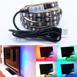 Wholesale Mini Tv Computer - 5V USB LED strip 5050 RGB LED Strip Light Laptop Computer TV Background Flexible Lighting With Mini RGB Controller
