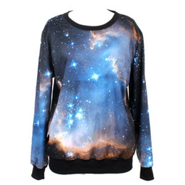 Wholesale Galaxy Trendy - Classic Trendy 3D Print Galaxy Sweatshirts For Women O-Neck Long Sleeve Loose Cozy Pullover Casual Clothes Autumn Spring New