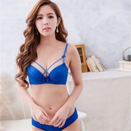 Wholesale Lingerie Bow Outfit - Wholesale-Sexy Bandage Push Up Deep V Bra Set Women Underwire Underwear Lingerie Outfits
