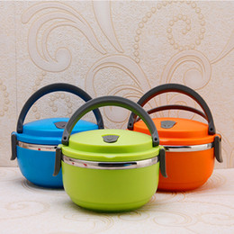 Wholesale Drink Box - New Stainless Steel Lunch Box with handle Thermos for Food Container insulation Student Bento box Dinnerware discount sale
