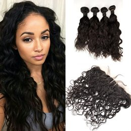 Wholesale Lace Front Closures Wholesale - Free Shipping 13x4 Full Frontal Lace Closures and Hair Water Wave Peruvian Lace Frontal Human Lace Front with 4 Bundles Hair G-EASY