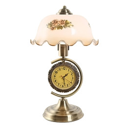 Wholesale Chinese Lampshade - Vintage Chinese Style Desk Lamp with Clock Glass Lampshade with Flower Bedroom Table Lamp Living Room Decor Desk Lamp