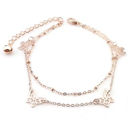 """Wholesale Butterfly Bracelet For Girls - 9.84"""" Two Rows Butterfly Bell Chain Anklet Bracelet 18K Rose Gold Plated Cute Animal Foot Jewelry for Women Girls"""
