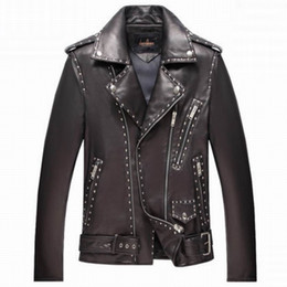 Wholesale Genuine Leather Jackets Sale - Fall-Real Genuine Leather coat Man Motor jacket Sheepskin Black New Fashion Casual Style High Quality Clothing Free Shipping Sale