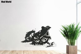 Wholesale Motorbike Stickers - refrigerator Mad World-Motocross Motorbike Silhouette Art Wall Decal Home DIY Decoration Removable Room Decor Wall Stickers