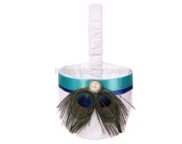 Wholesale Satin Flower Girl Baskets - Wholesale- Fashion Peacock Feather & Jade Ribbon Satin Wedding Party Flower Girl Basket