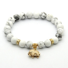 Wholesale Elephant Animal Bracelet - Wholesale 10ps lot 8mm White Howlite Stone Real Gold Plated Elephant Charm Lucky Bracelets Party Gift