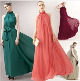 Wholesale Green Maxi Beach Dress - Vestidos Women Maxi Dress Elegant Bohemia Beach Summer Dress Perfect Fairy Hang-Neck Sexy Autumn Dress Chiffon Halter Long Dress
