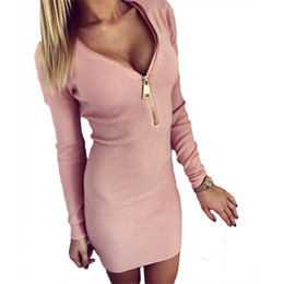 Wholesale Tight Fitting Floor Length Dresses - Wholesale- 2017 fast sell Women Dress through burst tight fitting hip screw V collar zipper open chest warm long sleeved casual dress 7221