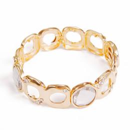 Wholesale Gemstone Wristbands - New Fashion Women Gold Plated Rhinestone Filled Jewelry Stretch Bangle Cuff Bracelet Bead Wristband Gift Gemstone Jewelry Free Shipping