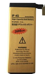Wholesale Ion Supply - Factory supply High Capacity Battery 2680MAH Gold Replacement Li-ion Battery for iPhone 4G FEDEX fast shipping
