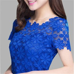 Wholesale Blue Sheer Blouse - 2017 New Short Sleeve Tee Shirt Top For Women Clothing Women Lace Blouse Sexy Floral Sheer Blouses
