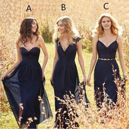 Wholesale Dresses Chifon - 2017 Mismatched Navy Blue Bridesmaid Dresses Floor Length Chifon Vintage Bridesmaid Gowns Fall Countryside Plus Size Maid of Honor Hot Sale
