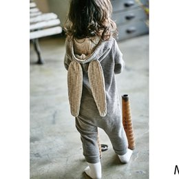 Wholesale Winter Bodysuits For Babies - Baby Toddlers Kids Rompers Jumpsuits Babysuits For Little Girls Boys 100% Cotton Rabbit Ears Rompers Children Jumpsuits One Pieces Bodysuits