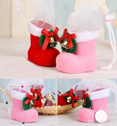 Wholesale Candy Colored Boots - Fashion Christmas Decorations Flocking Boot Boots Socks Creative Gift Box of Candy Decorative Supplies Free Shipping