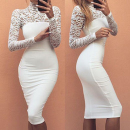 Wholesale Sexy Black Lace Turtleneck Dress - 2016091707 Turtleneck Long Sleeve Lace Midi Sexy Club Bandage Bodycon Dress 2016 Autumn White Red Black Women Elastic Elegant Party Dresses