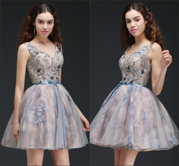 Wholesale Top Designer Gowns - Printed Short Homecoming Dresses 2018 New Real Images A Line Cocktail Gowns Backless Corset Top 16 Girl Prom Dresses CPS667