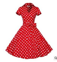 Wholesale Types Collars Dresses - Women Retro 50s Shirt Type A Line Vintage Fall Spring Collar Polka Dot Swing Party Dress