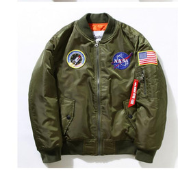 Wholesale mens wind jackets - Autumn spring Thin Embroidered Wind breaker Mens Bomber Jacket Coat MA1 Nasa Pilot Men Jackets And coats Army windbreaker