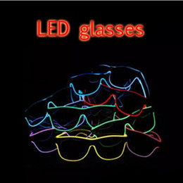 vasos de cumpleaños Rebajas LED Party Glasses Fashion EL Wire glasses Cumpleaños Fiesta de Halloween Bar Decorativo proveedor Luminous Glasses Eyewear