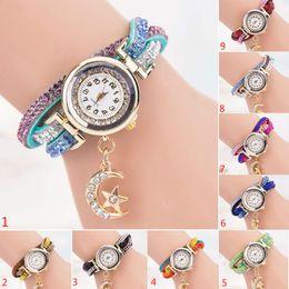 Wholesale Long Leather Watch Straps Women - Ladies Moon Star pendant Crystal Diamond Rhinestone long leather strap watches Women Dress Quartz Analog Wristwatch