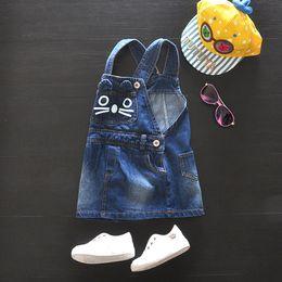 Wholesale Cute Jean Dresses - Hot sale cute cat pattern 2016 spring autumn casual blue jean denim overalls dress baby girl clothes 3M-2T