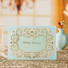 Wholesale Printable Green Wedding Invitations - WISHMADE 2017 New Arrival Turquoise Wedding Invitation Card With Green Gemstone With Turquoise Envelope Customized Printable CW7023