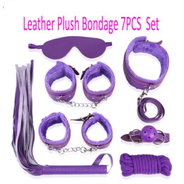 Wholesale Leather Adult Collars - whip collar Mouth ball gag Sex Adult games bondage Set Leather Plush Four Colors erotic toys sex toys adults for women sex shop