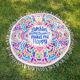 Wholesale Chiffon Beach Towel - Summer Beach Round Mat Indian Bohemian Tapestry Mat Hippie Picnic Thin Cover Yoga Throw Mat Chiffon Polyester Towel