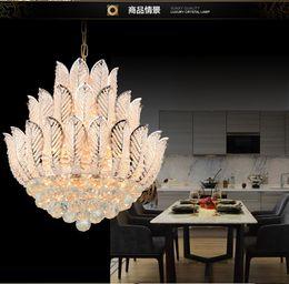Wholesale Led Lotus Crystal Lamp - Modern Luxury Chandeliers Crystal Lotus droplight Living Room LED Pendant Light Diameter 50CM Pendant lamp Droplight Living Room Dining Room