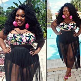 Wholesale Women Sheer Bikinis - 2016 New sexy Women gauze tulle print flower Bikini skirt Set Swimwear plus size fashion sheer Swimsuit Biquini Bathing Suit tankinis set
