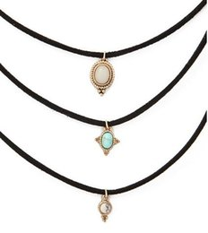 Wholesale Turquoise Jewelry For Girls - New fashion jewelry leather turquoise choker necklace set 1set =3pieces gift for women girl N1779