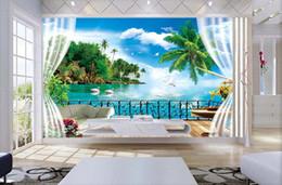 Murales del océano online-3d room wallpaer foto mural personalizada fuera de la ventana Coconut Island Ocean pintura del paisaje 3d murales de pared de papel tapiz para las paredes 3 d