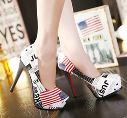 Wholesale High Heels Flag Pump - 2016 spring and autumn new flag color 12.5cm ultra fine with waterproof pointed high-heeled shoes women's singles