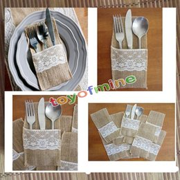 Wholesale Bamboo Silverware - Wholesale- 12pcs wedding table decoration Table DecorationAccessories burlap Silverware Holders country wedding jute lace pouch cover