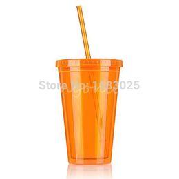 Wholesale Beaker Lid - Orange Smoothie Iced Coffee Juice Plastic Drinks Cup With Straw Party Liquid Beaker Lid Suitable For Beverage