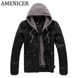 Wholesale Raincoat Trench - Wholesale- 2017 Autumn Winter Mens Faux Leather Jacket Version Hooded Motorcycle Trench Coat For Mens Biker Down Jackets Pu Cool Raincoat